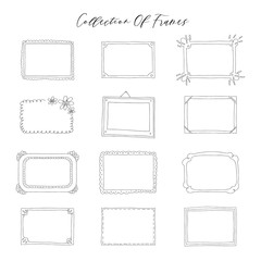 Beautiful template hand drawn frames.