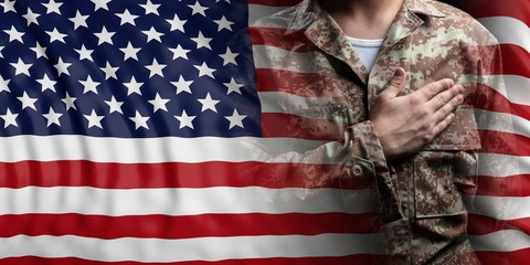United States of America flag and soldier with hand on his heart. 3d illustration