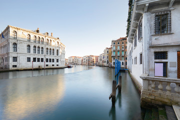 Grand canal in Venice, calm water in the morning, nobody