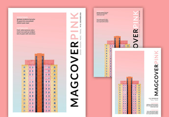 Magazine Cover Layouts with Pink Accents