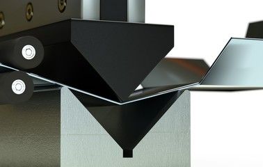 bended metal sheet, bending machine 3d render