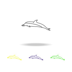 dolphin multicolored icons. Element of popular sea animals icon. Premium quality graphic design outline icon. Signs and symbols outline icon for websites, web design, mobile ap, UI
