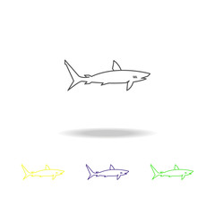 white shark multicolored icons. Element of popular sea animals icon. Signs and symbols outline icon for websites, web design, mobile app, UI