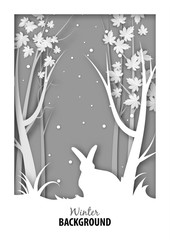 Winter season background with white rabbit in snow jungle and paper art design vector and illustration