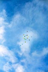 Balloons in the sky in honor of the holiday of the beginning of the school year
