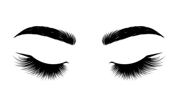 Black lashes. Woman eyes with long eyelashes, vector illustration. Eyelashes and eyebrows on white background. Сoncept of eyelash extensions, microblading, mascara, beauty salon. Beauty and Fashion.