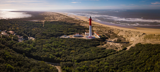 Aerial view of lighthouse La Coubre in La Tremblade, Charente Maritime