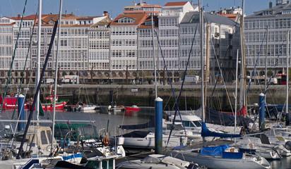 The harbour at the seaport of La Coruna in Galicia