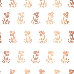 Copper foil folk flowers on white repeating vector background. Scattered shiny rose golden vintage florals seamless pattern. Elegant art for celebration, birthday, girl, nursery, party, wedding, cards
