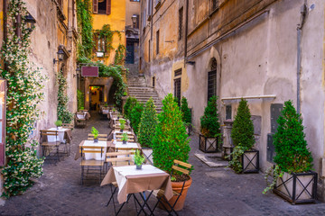 Photo sur Toile Europe Centrale Cozy street in downtown, Rome, Europe. Touristic attraction of Rome.