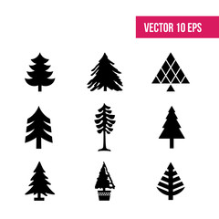 Tree vector icons for user interface design. Set tree, 10 eps vector