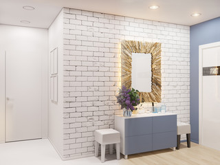 3d illustration of the interior design of an apartment in Scandinavian style