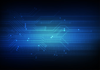 Vector : Electronic circuit with binary code on blue background