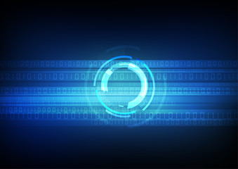 Vector : Blue abstract circle with binary number on black background