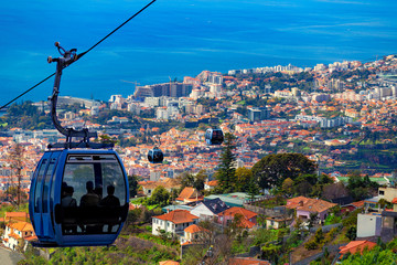 Aerial view of Funchal with traditional cable car above the city, in Madeira island, Portugal Fototapete
