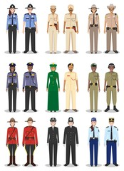 The concept of international police. Set of different detailed illustrations of sheriff, gendarme and policewoman and policeman in a flat style on white background. Vector illustration.