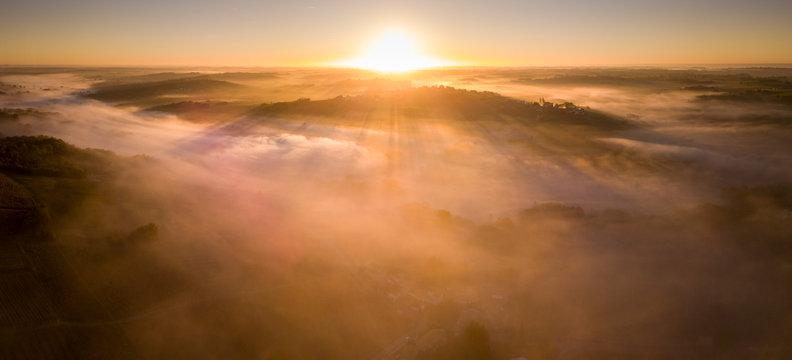 Aerial view, Bordeaux vineyard, landscape vineyard and fog at sunrise