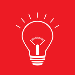 Light Bulb line icon vector, isolated on red background. Idea sign, solution, thinking concept. Lighting Electric lamp. Electricity, shine. Trendy Flat style for graphic design, Web site, UI. EPS