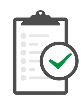 In compliance icon set that shows a company passed inspection Clipboard verification vector icon isolated on transparent background, Clipboard verification logo concept