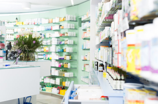 photo of the shelves with medicines