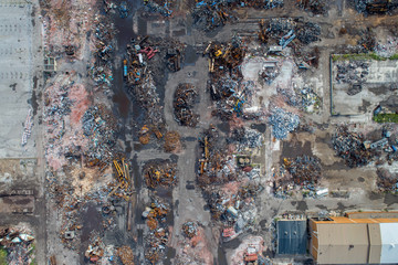 Looking Down on Demolished Building Worksite