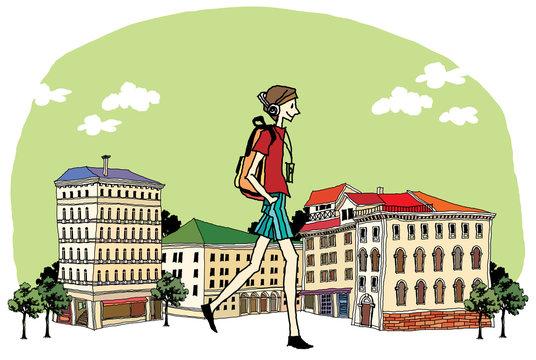 Side view of teenage girl walking on street