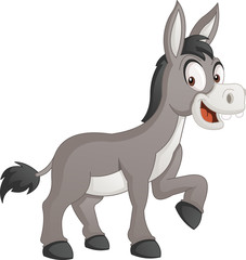 Cartoon cute donkey. Vector illustration of funny happy animal.
