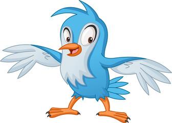 Cartoon blue bird. Vector illustration of funny happy animal.