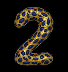 Number 2 two made of golden shining metallic 3D with blue glass isolated on black background.