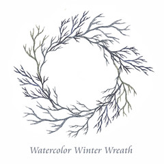 Watercolor winter wreath isolated on a white