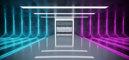 Modern Futuristic Sci Fi Dark Grunge Concrete Room With Purple And Blue Glowing Laser Neon Tube Lights On Empty Reflective Stage Background For Text 3D Rendering