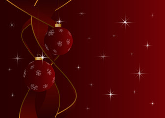 Christmas card without text - baubles and stars