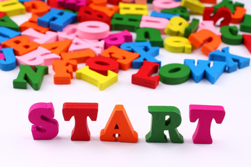 The word start with colored letters