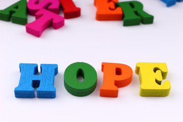 The word hope with colored letters