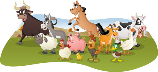 Group of farm cartoon animals. Farm background.