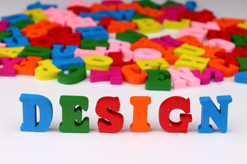 The word design with colored letters