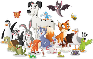 Group of cartoon animals. Vector illustration of funny happy animals.