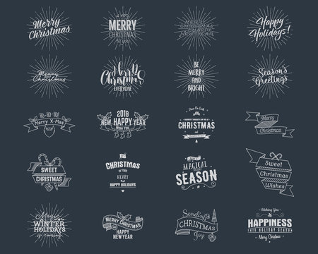 Big Christmas typography quotes, wishes bundle. Sunbursts, ribbons and other xmas elements, icons. New Year lettering, sayings, vintage labels. Season greetings calligraphy. Stock isolate