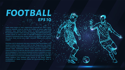 Football of blue glowing dots. Football vector illustration.