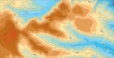 Abstract detailed color vector topographic elevation map