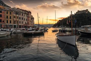 Scenic sunset over the harbour Portofino