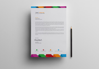 Letterhead Layout with Multicolored Header and Footer