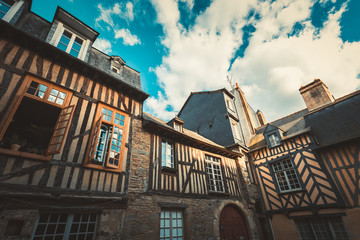 Traditional half-timbered houses in the old town of Rennes city, France