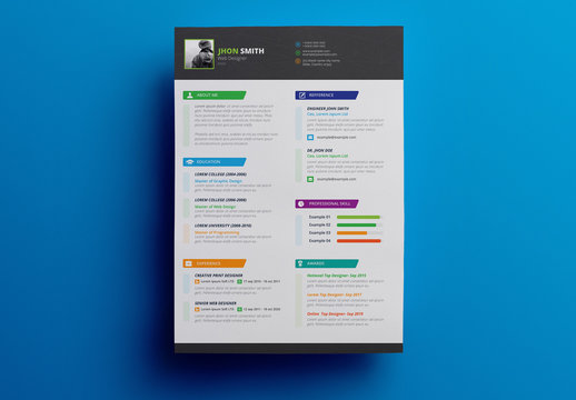 Resume Layout with Gray Header and Footer