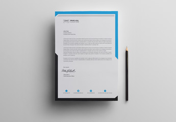 Letterhead Layout with Blue Header and Gray Footer