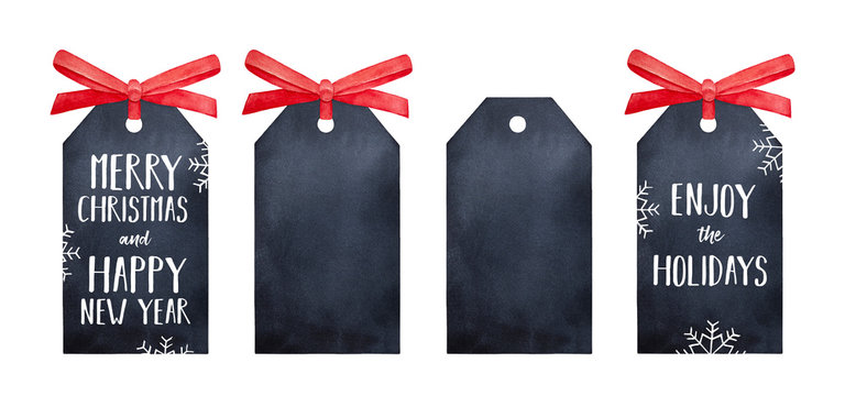 Black rectangle Christmas gift tag collection, decorated with cute satin ribbon. Use blank design as decorative mock up to write anything you like. Hand drawn watercolour graphic painting on white.