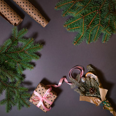New Year's concept. Christmas concept, top view of the gift and the Christmas tree