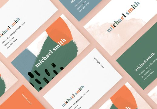 Business Card Layout with Brush Strokes