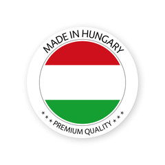 Modern vector Made in Hungary label isolated on white background, simple sticker with Hungarian colors, premium quality stamp design, flag of Hungary