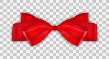 Colorful naturalistic 3D beautifully knotted bow on transparent background. Vector Illustration